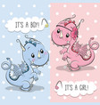 greeting card with cute dragon vector image