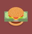 Hamburger with dollar banknotes vector image vector image