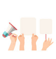 hands holding empty blanks banners signs and vector image vector image