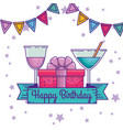 happy birthday with ribbon and party banner vector image vector image