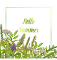 hello summer card with greenery vector image vector image