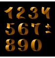 Isolated shiny golden ribbon numbers on black vector image