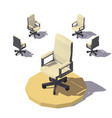 isometric low poly office chair vector image vector image
