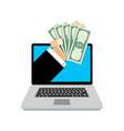 loan online hand with money vector image vector image