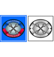 logo emblem of repair shop with tools vector image