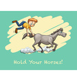 Man holding horse tail vector image vector image