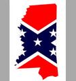 mississippi map and confederate flag vector image vector image