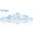 outline burlington iowa skyline with blue vector image vector image