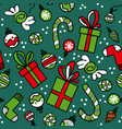 pattern with red gift boxes socks and sweets vector image vector image
