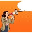 Pop Art Business Woman Shouting in Megaphone vector image vector image