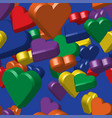 rainbow colors hearts seamless pattern vector image