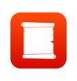 retro scroll paper icon digital red vector image vector image