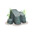 rock stone boulder with grass design element of vector image
