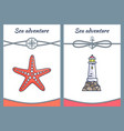 sea adventure posters set vector image vector image
