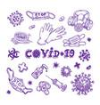 Set different icons coronavirus infection