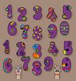 set of purple vintage numerals vector image vector image