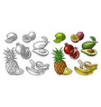 set tropical fruits pineapple lime banana vector image vector image