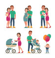 stages of creating family love pregnancy birth vector image