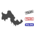 tilos greek island map in halftone dot style with vector image vector image