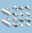 trucks transportation isometric icons vector image