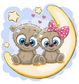 two cute bears on the moon vector image vector image