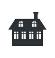 two storey house with chimney black silhouette vector image