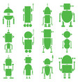 Vintage retro robots 2 plain in green vector image vector image