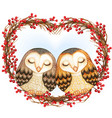 watercolor lovely barn owls sleeping on a heart vector image