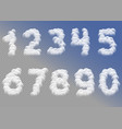 white cloudy numbers vector image