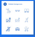 9 carriage icons vector image vector image