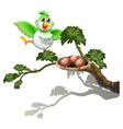 A cute bird at the branch of a tree with a nest vector image