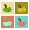 assembly flat icons cartoon dinosaur egg vector image