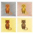 assembly flat shading style icons cartoon tiger vector image vector image