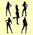 beautiful skinny woman gesture silhouette vector image vector image
