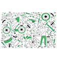 bicycle doodle set vector image vector image