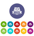 brazil flag icons set color vector image vector image