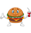 cartoon burger holding a cup of soda vector image