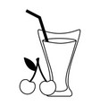 cherry juice cup with straw vector image