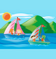 children sailing boats in the sea vector image