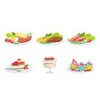 collection different food set delicious served vector image vector image