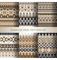 collection pixel colorful seamless patterns vector image vector image
