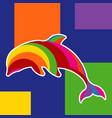 colorful pop art dolphin designs vector image vector image