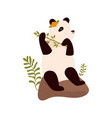 cute panda eating bamboo vector image vector image