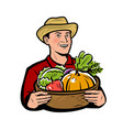 farmer with vegetables natural food vector image vector image