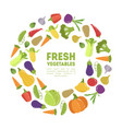 fresh vegetables round frame ripe organic natural vector image vector image