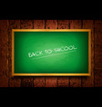 green blackboard on a background wooden planks vector image