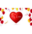 greeting romantic greeting card with big red vector image vector image