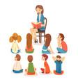 group preschool kids sitting on floor and vector image vector image