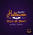 halloween party flyer design text happy halloween vector image