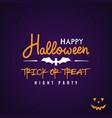 halloween party flyer design text happy halloween vector image vector image